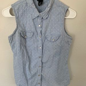Denim Polkadot Button Down Tank Top